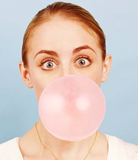 woman eating chewing gum